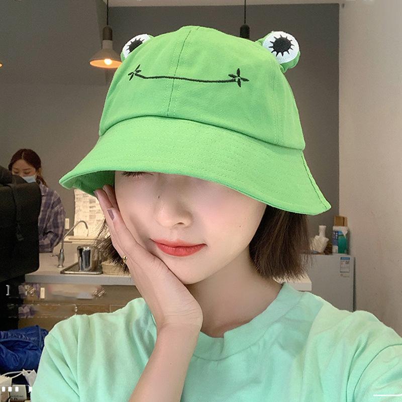Women Fashion Frog Bucket Hat New Summer Hat Female Parent Child Frog Fishing Cap Korean Wild Cute Sun Hat Big Eyes Bucket Hat