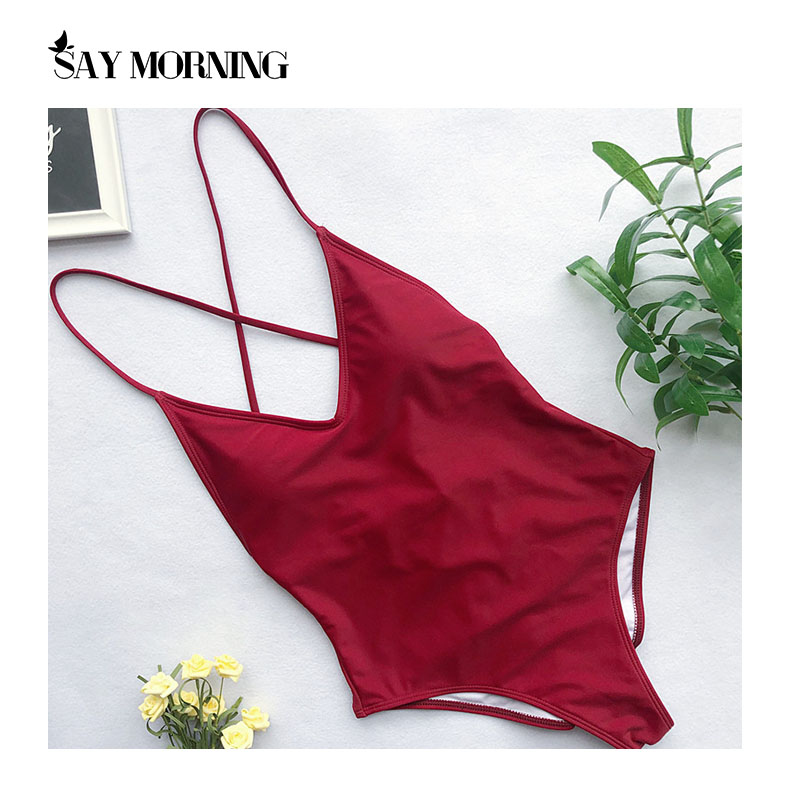 SAY MORNING Sexy Deep V Neck One Piece Swimsuit Removable Chest Pad Biquini Solid Backless Beachwear Swimwear Bathing Swimming-1