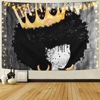 أسود بساط هيبي جدار شنقا المرأة الأفريقية فتاة مع تاج