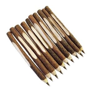 30Pcs Vintage Handmade Wooden Individualization Ballpoint Pen Environmental Twig Wood Ball Pen School Office Supplies Student