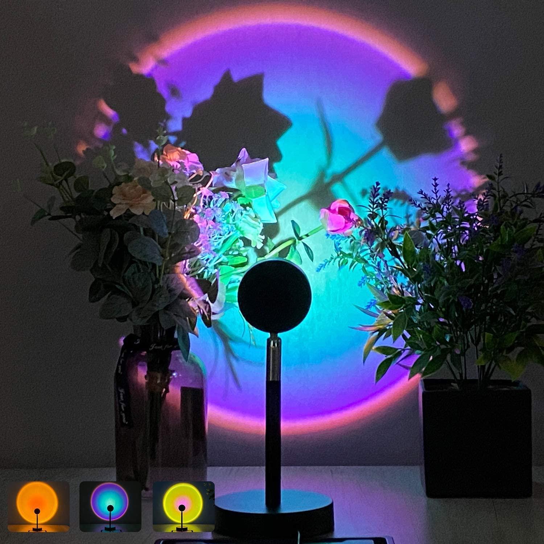 USB настольная лампа закат проектор лампа с радужным атмосферу светодиодный ночной Светильник для Семья Спальня Кофе магазин настенное укра...