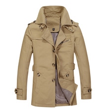2020 Men's New Cotton Business Mid-Length Trench Coat Youth Lapel Solid Color Ep