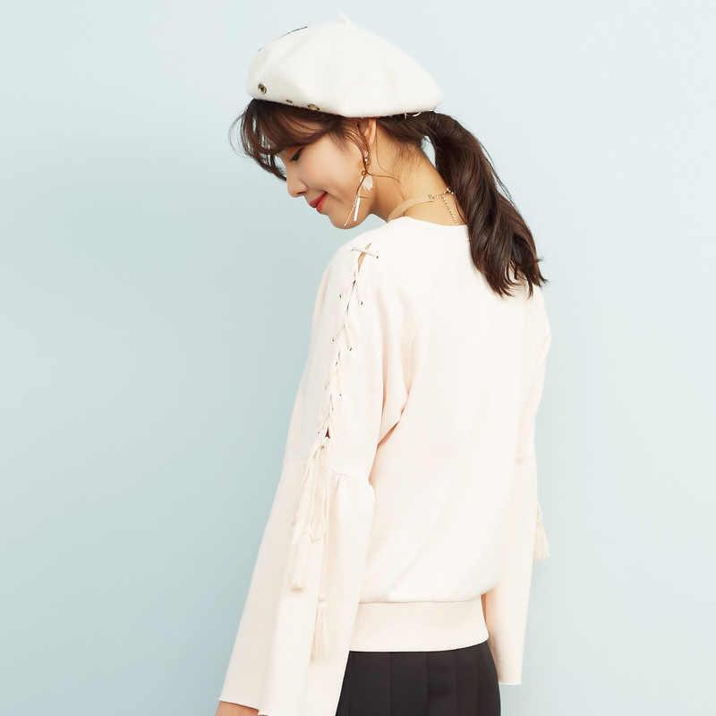 Metersbonwe sweats à capuche pour femmes femme couleur unie ruban décontracté sweat nouveau femmes pulls à capuche de mode décontracté hauts 603470