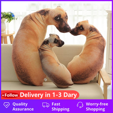 3D Cute Bend Dog Printed Throw Pillow Lifelike Animal Funny Dog Head Cosplay Children Favorite Toy Cushion for Home