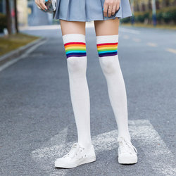 Spring Autumn Japanese Rainbow Cute Student Socks Stripes Sweet Thigh Knee Socks Fashion Wild Women Stockings High Quality