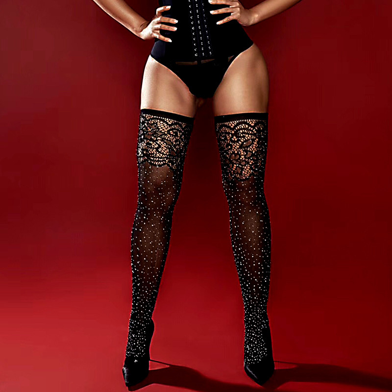 Women's Crystal Sexy Mesh Stockings Plus Size Shiny Fishnet Tights With Rhinestones Sexy Lingerie Transparent Pantyhose Hosiery