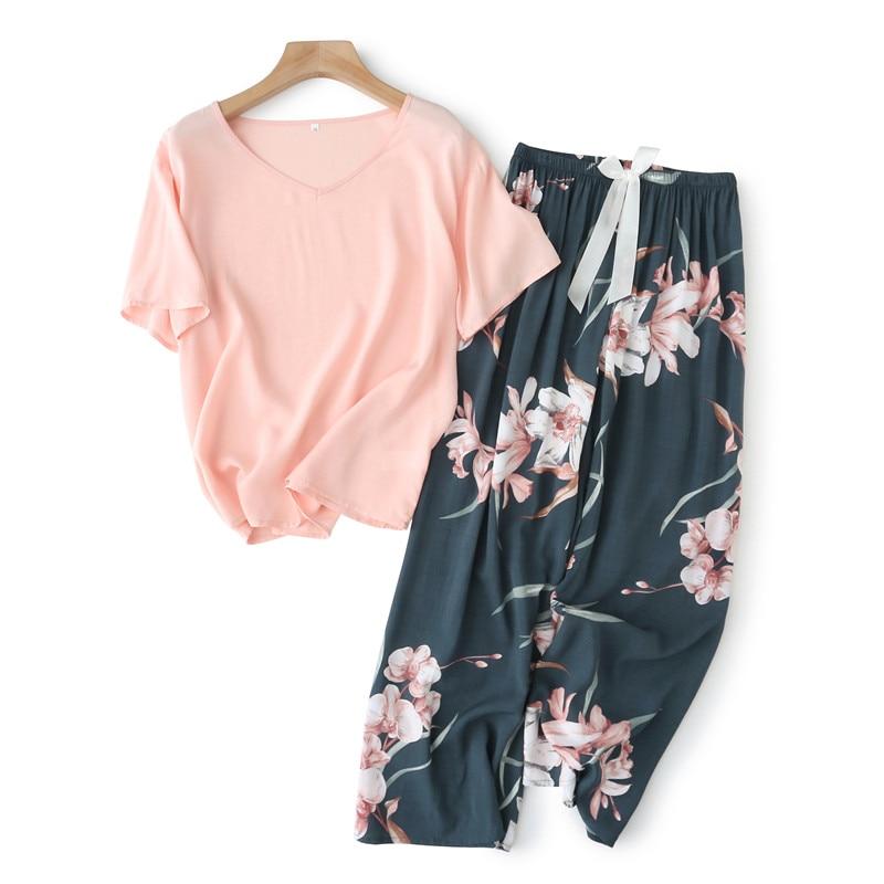 Breathable 2PCS Pajama Short Sleeve Printed Pijama Mujer Femme Loose Nightwear Suit Female Casual Homewear Pajama Set For Women