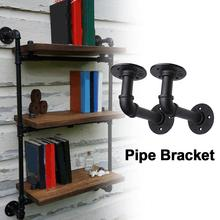 2Pcs Pipe L Bracket Wall Floating Shelf Vintage Retro Black Iron Industrial Holder Home Decor Storage