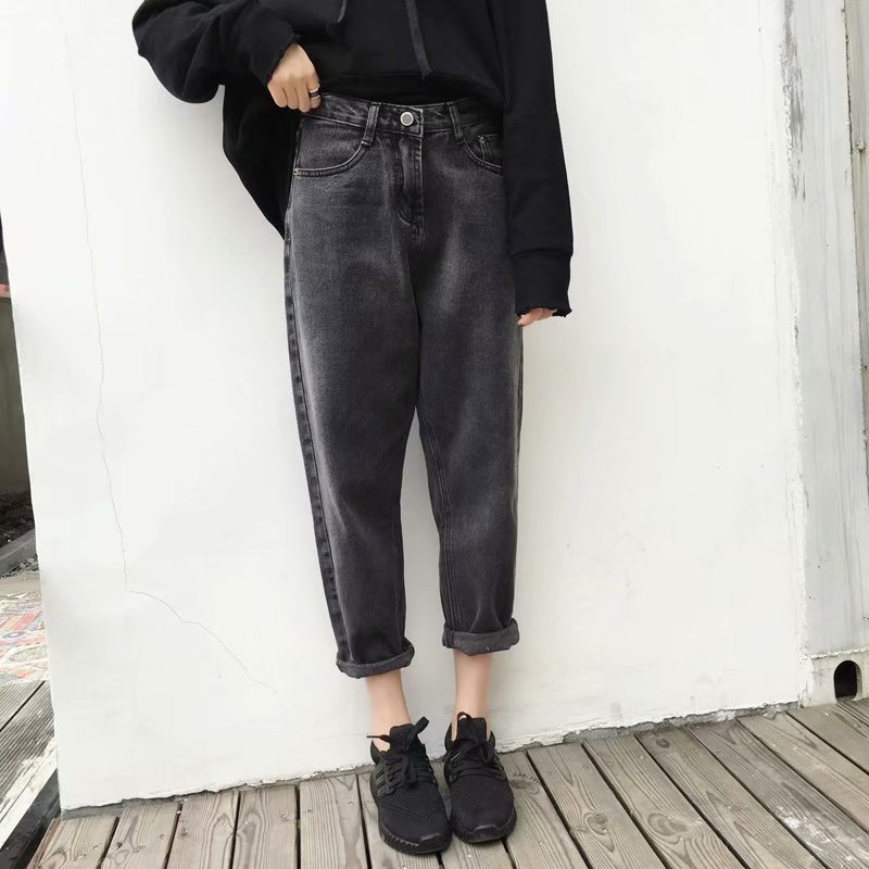 Vintage High Waist Jeans Woman 2019 Black Boyfriend Jeans For Women Streetwear Harem Denim Pants Female Trousers