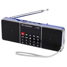 цена на Mini Portable Rechargeable Stereo L-288 FM Radio Speaker LCD Screen Support TF Card USB Disk MP3 Music Player Loudspeaker(Blue#5