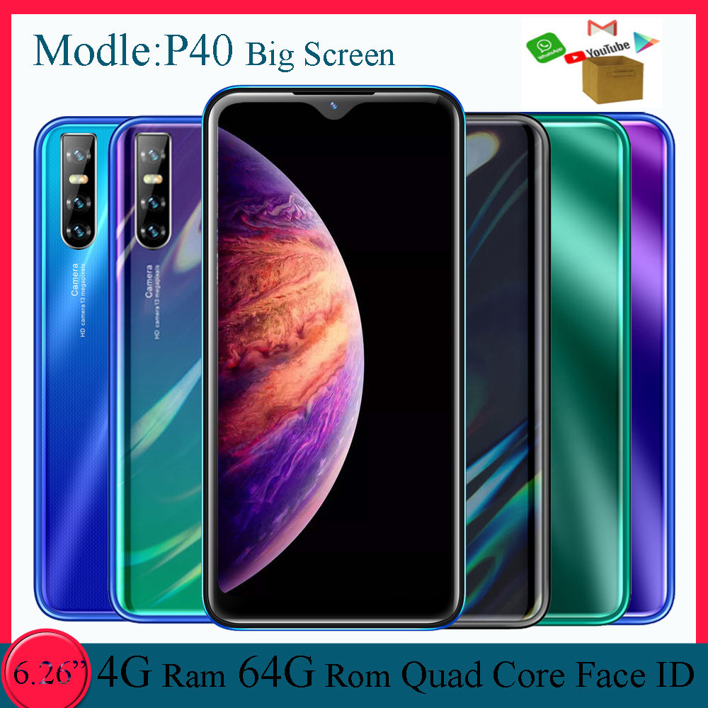 "6.26 ""P40 Smartphones 2Sim Android Water Drop Screen Gezicht Unlocked 4Gb Ram 64Gb Rom Mobiele Telefoons 13MP Camera mtk Mobiele Telefoons"