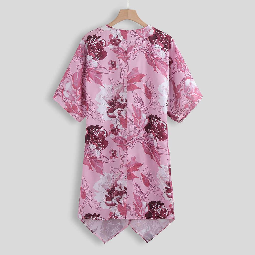 2020 Phụ Nữ Praia Voan Áo Khoác Cardigan Kimono Hoa Bất Đối Xứng Bãi Biển Nửa Áo Ngực Áo Khoác Đi Biển Thể Làm # YL5