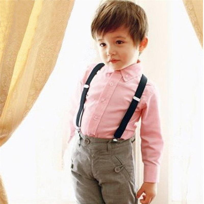 New Y back Kid/'s Boy/'s Suspender Braces adjustable strap clip on casual peach