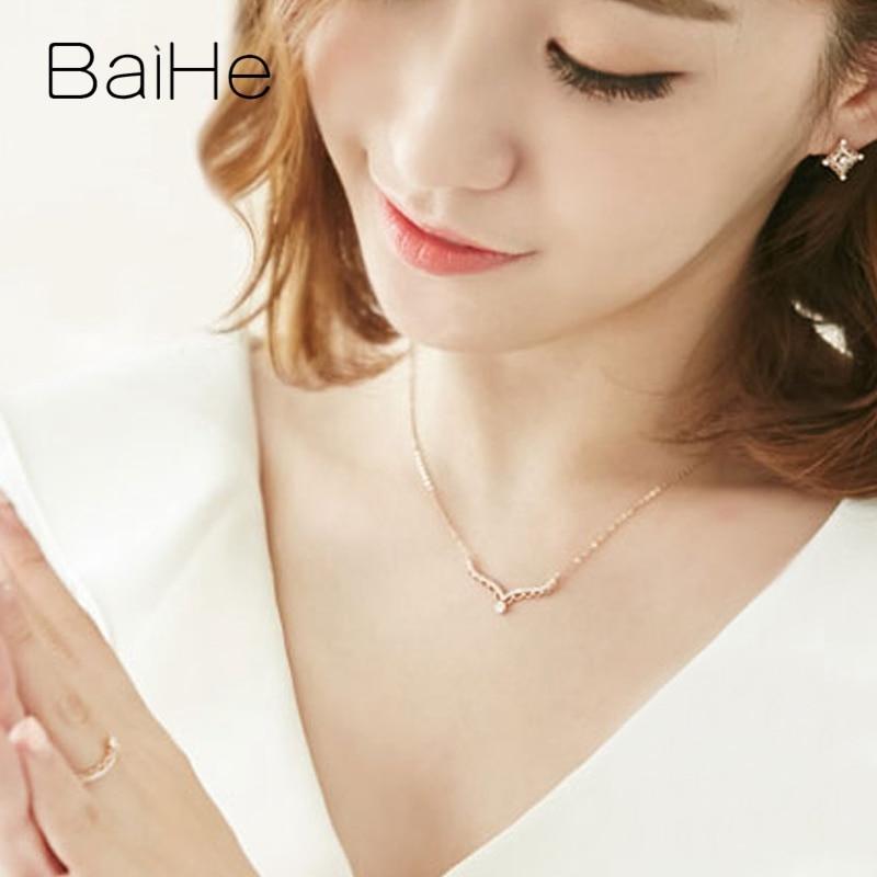 BAIHE solide 18K Rose/blanc/or jaune certifié H/SI 0.20ct + 0.15ct diamants naturels femmes bijoux fins colliers cadeaux de mariage - 5