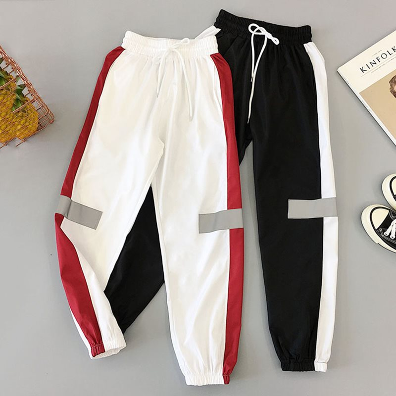Joggers Sweatpants BF Style Black Trousers Women Summer Splice Pockets Thin Streetwear Cool Girl Fashion Harajuku Hip Hop Pants