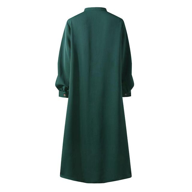 Plus Size Muslim Dresses 2020 Woman Shirt Dress Long Sleeve Maxi Vestidos Female Button Robe High Wasit Solid Sundress 5