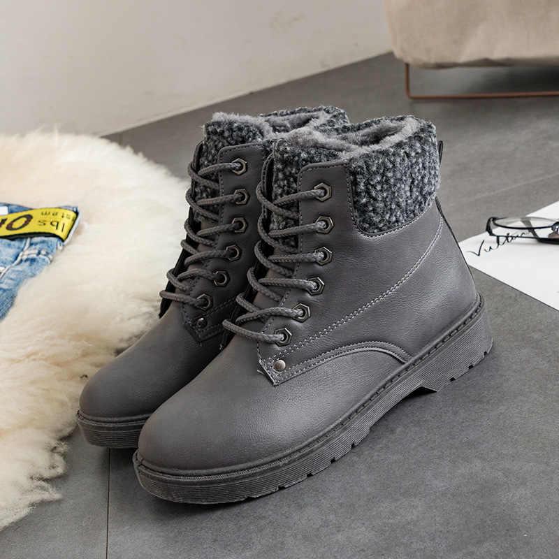 Bayan Botları Yuvarlak Ayak Kış Kadın Ayakkabı dantel-up martin bilekli çizme Katı PU Deri Rahat Düz botines mujer WSH3431