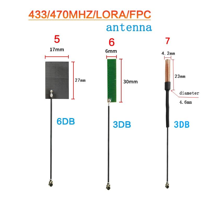 LoRa модуль антенны с высоким коэффициентом усиления 3-8dBi 433 МГц Встроенный pcb антенный кабель 10 см fpc Весенняя антенна RG1.13 470 МГц патч-антенна ...