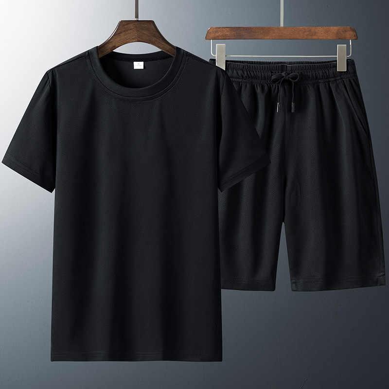 T gömlek Set erkekler şort 6XL 7XL 8XL spor hızlı kuruyan siyah beyaz t-shirt yaz spor koşu spor nefes Tshirt