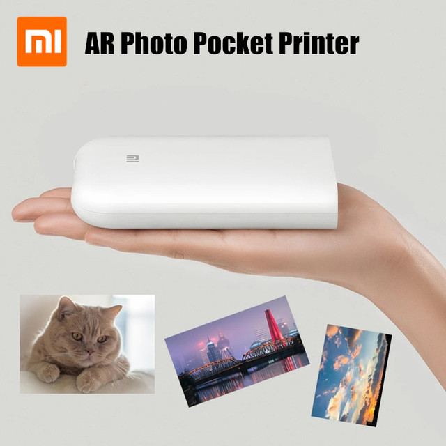 New Xiaomi Mijia AR Printer 300dpi Portable Photo Mini Pocket With DIY Share 500mAh picture printer pocket Work With Mijia APP