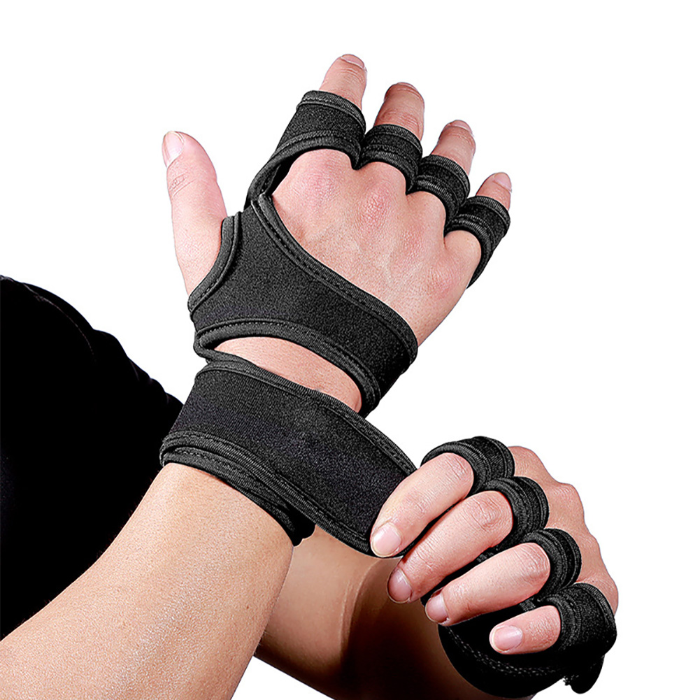 1 Pair Women Men Workout Weight Lifting Gloves Cross Training Bodybuilding Sports Half Finger Gym Adjustable Hand Protect