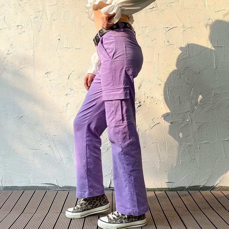 Darlingaga Casual Solid Straight Corduroy Pants Fashion Winter Pockets Trousers High Waist Cargo Pants Women Capris Pantalones 3