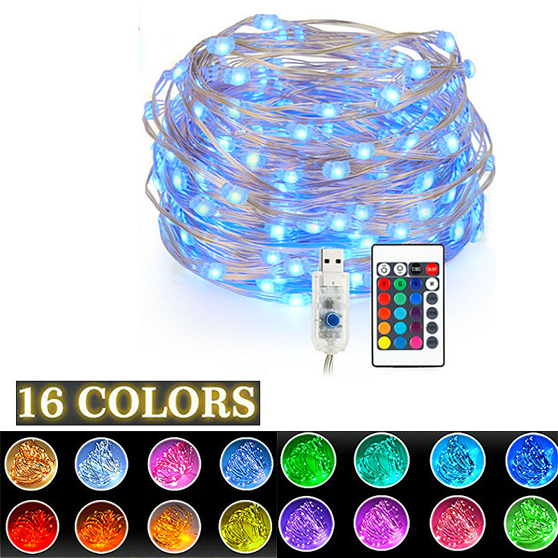 100 LEDs Remote Control Fairy Lights Copper Wire LED String Lights  16 Colors For Garland Christmas Tree Wedding Room Decoration