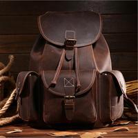 Men's Crazy Horse Leather Backpack Vintage genuine leather Retro Rucksack Large Classic Travel Backpack Women real laptop bag