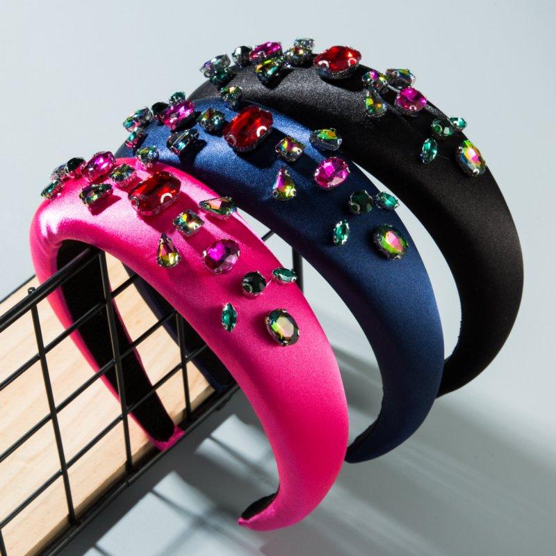 Fashion Diamond Gem Padded Headband For Women Solid Color Rhinestone Sponge Hairband Bezel Hair Accessories