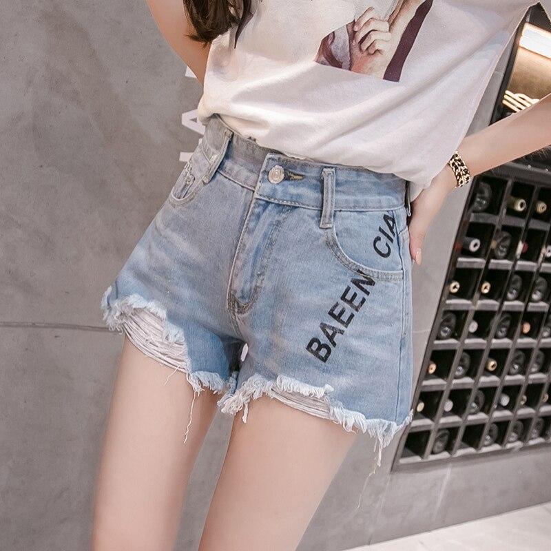 Summer Women Korean Style Demin Shorts High Waist Blue Retro Classic Denim Shorts Letter Print Ladies Shorts