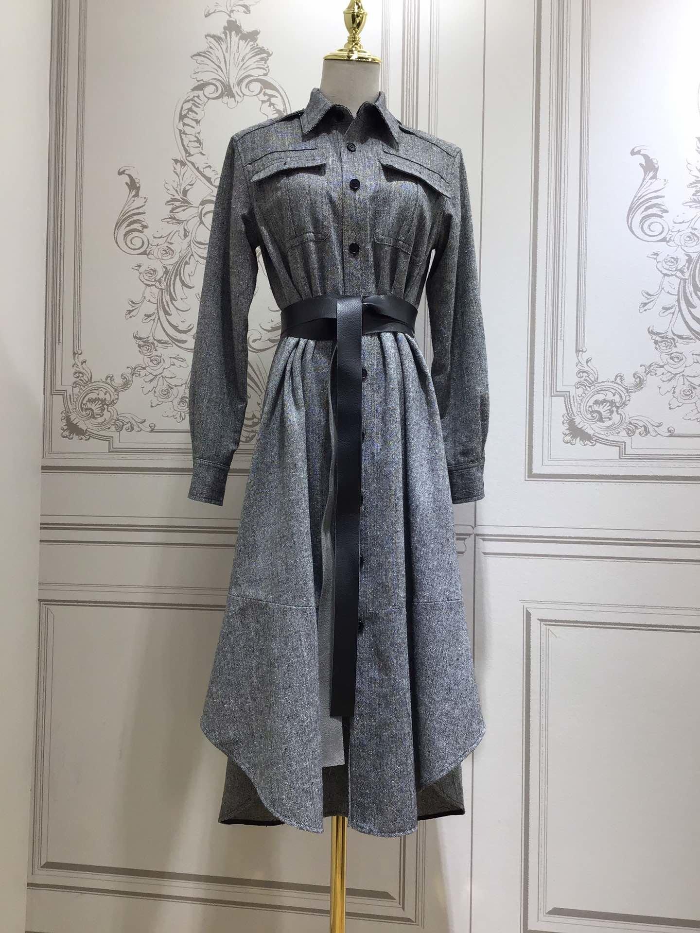 2020 new ladies fashion long sleeve lapel leather belt dress 0829