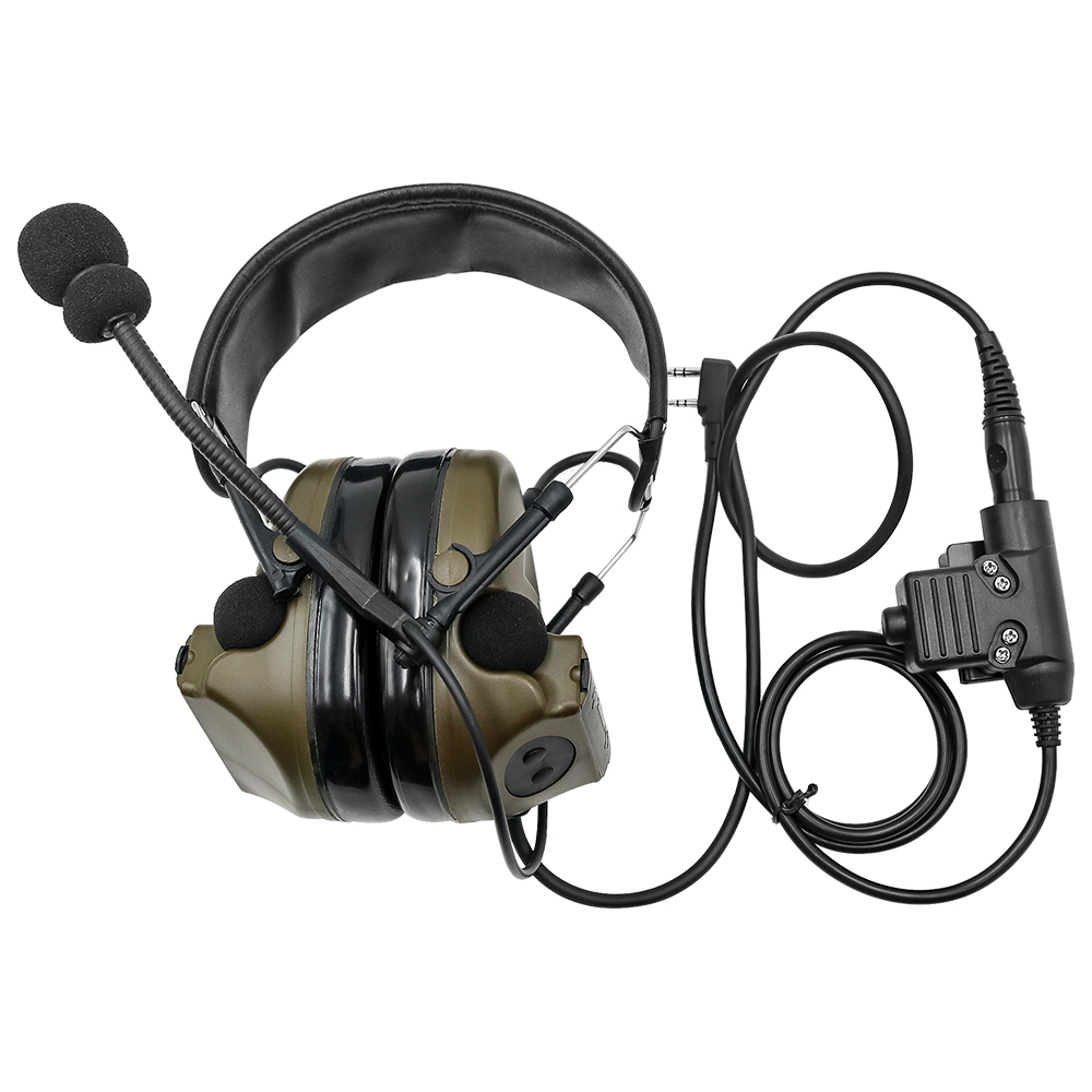 Military Headphone Comtac II Tactical Headset Noise Reduction Pickup Earphone Ear Protection Shooting Earmuffs FG+U94 PTT Plug