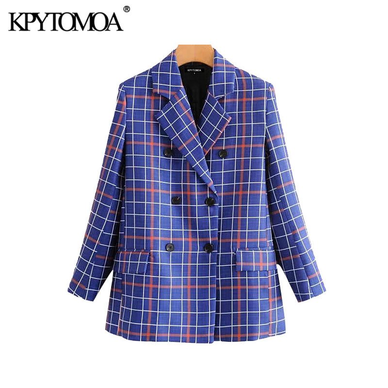 Vintage Stylish Double Breasted Plaid Blazer Coat Women 2020 Fashion Long Sleeve Pockets Office Wear Female Outerwear Chic Tops