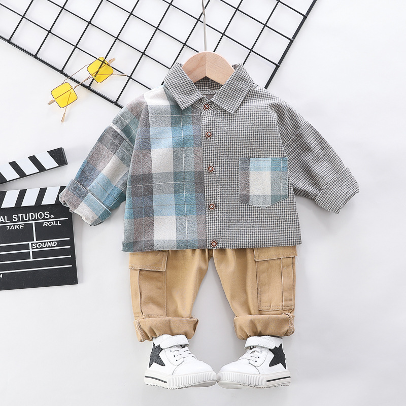 HYLKIDHUOSE 2020 Spring Baby Boys Clothing Sets Plaid Shirt Pants Casual Style Toddler Infant Clothes Children Vacation Clothing