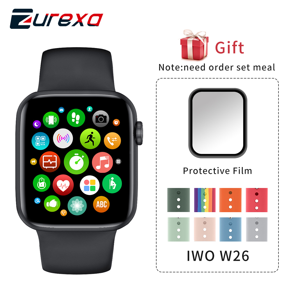 Zurexa Iwo W26 Smart Watch Men Women 44mm 1 75inch Full Touch Screen Sport IP68 SmartWatch With Pedometer For Ios Android 2020