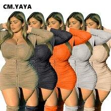 CM.YAYA grande taille femmes robe Skinny élastique à manches longues col carré l'empire Mini robes bureau dame Streetwear printemps 2021