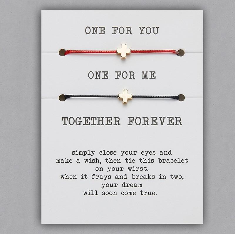 2 шт./компл. Сердце Звезда браслеты с крестообразной подвеской один для вас один для меня красная веревка плетение пара браслет для мужчин женщин карточка пожеланий - Окраска металла: BR18Y0713-1
