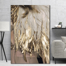 Feather gold color lamp poster canvas print modular Nordic minimalist wall art living room bedroom without frame