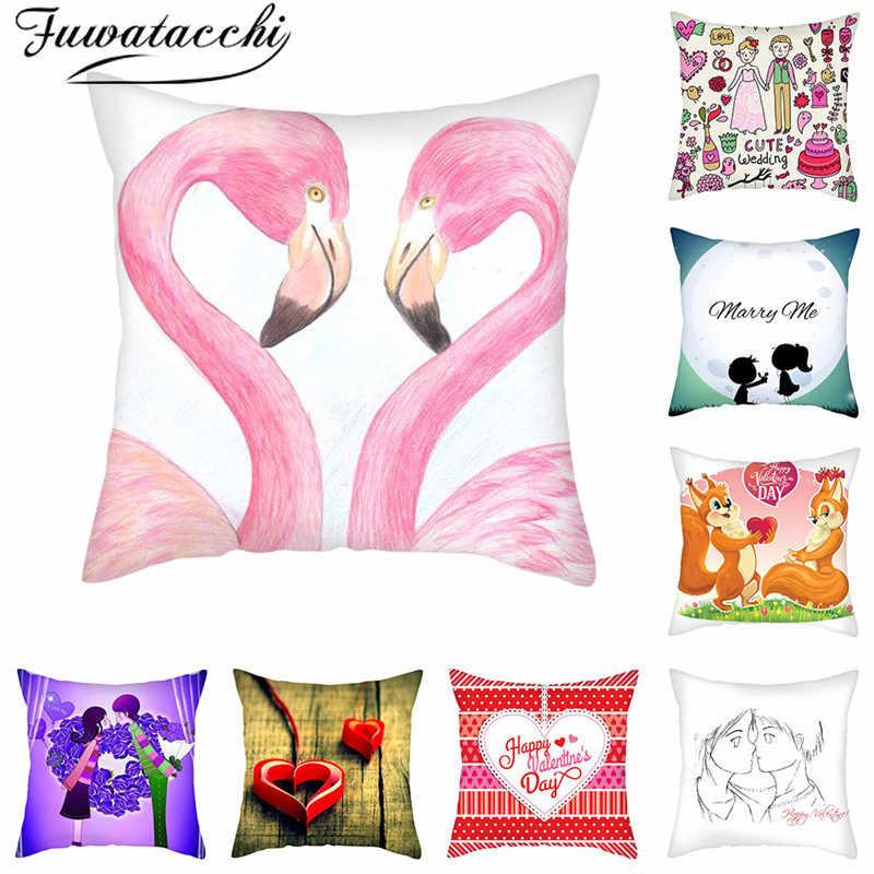 Flamingo Cotton Linen Pillow Case Throw Cushion Cover Valentine/'s Day Home Decor
