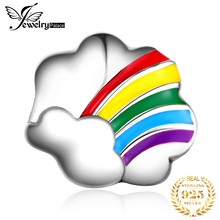 JewelryPalace 925 Sterling Silver Rainbow Cloud Beads Charms Original Fit Bracelet original Jewelry Making