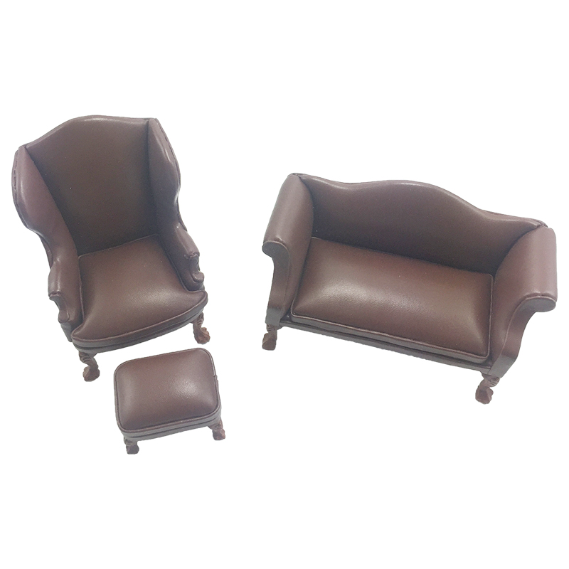 1:12 Dollhouse Furniture Miniature Leather Wood Sofa Set Armchair Ottoman Couch