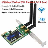 Bluetooth WiFi PCI-E Network Card 2.4G Wireless 150Mbps PCI-E PCI Express Internet Networking Adapter