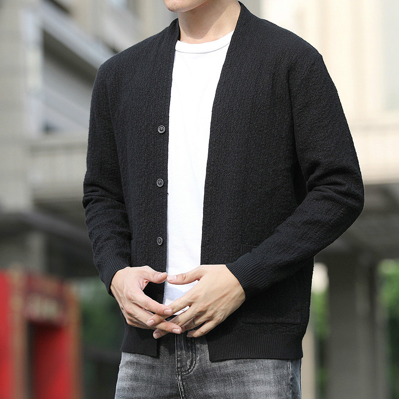 Fashion Autumn Hot Sale Mens Knitted Cardigan Korean Boys Black Sweater Long Sleeve Casual Knitwear 4xl Male Oversized Sweater