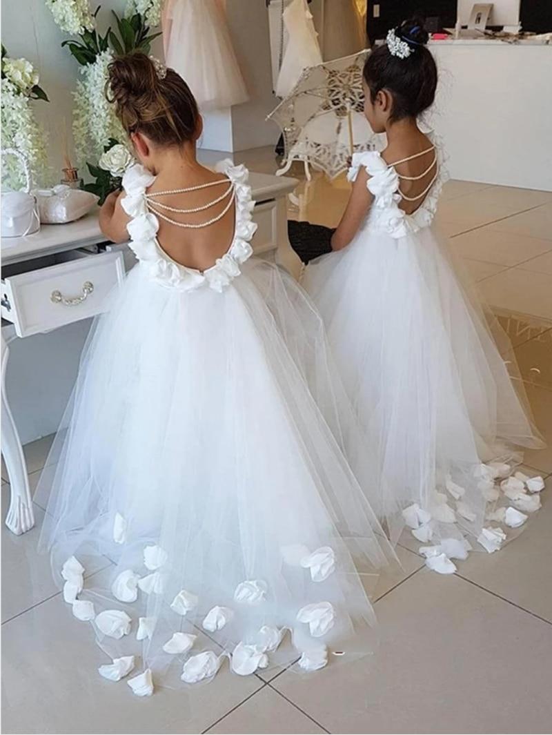 Элегантное цветочное платье для девочек, пышное платье, платья для первого причастия для девочек, свадебное платье, детвечерние бальное пла...