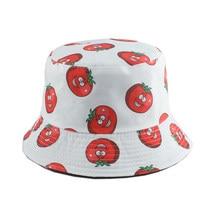 Mode dessin animé seau Chapeau tomate aubergine concombre impression pêcheur casquette hommes femmes Panama Chapeau réversible Bob Chapeau