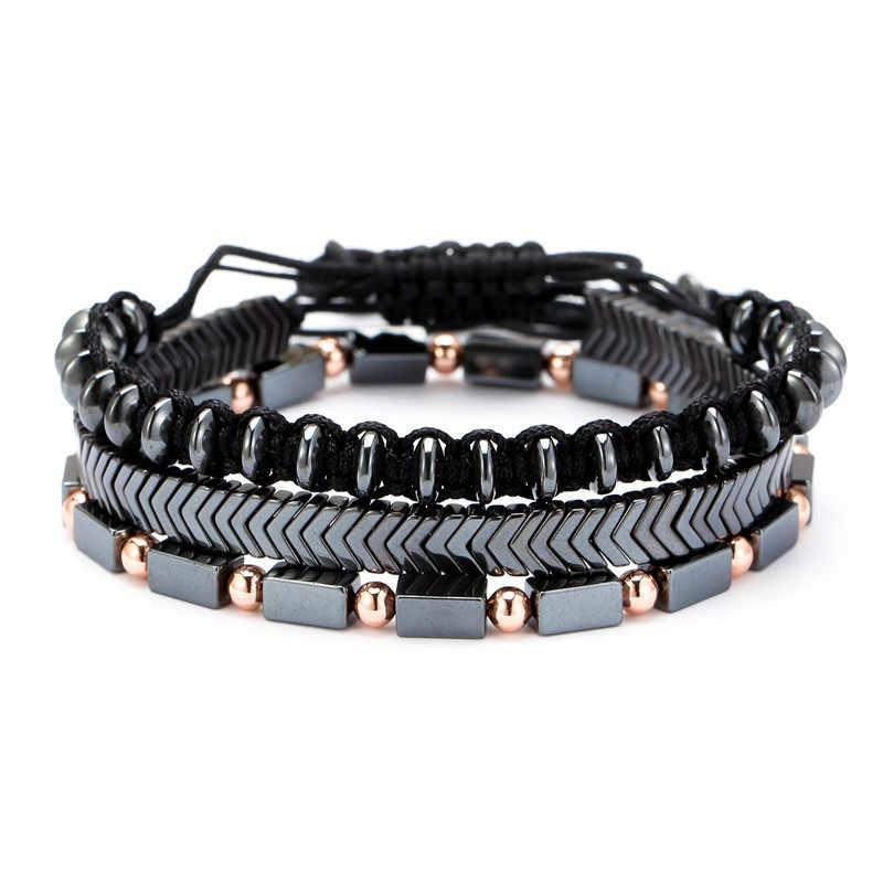 3 pçs na moda pulseira masculina conjunto artesanal trançado corda braslet natural hematite braclet pedra ajustável charme masculino presente brazalete