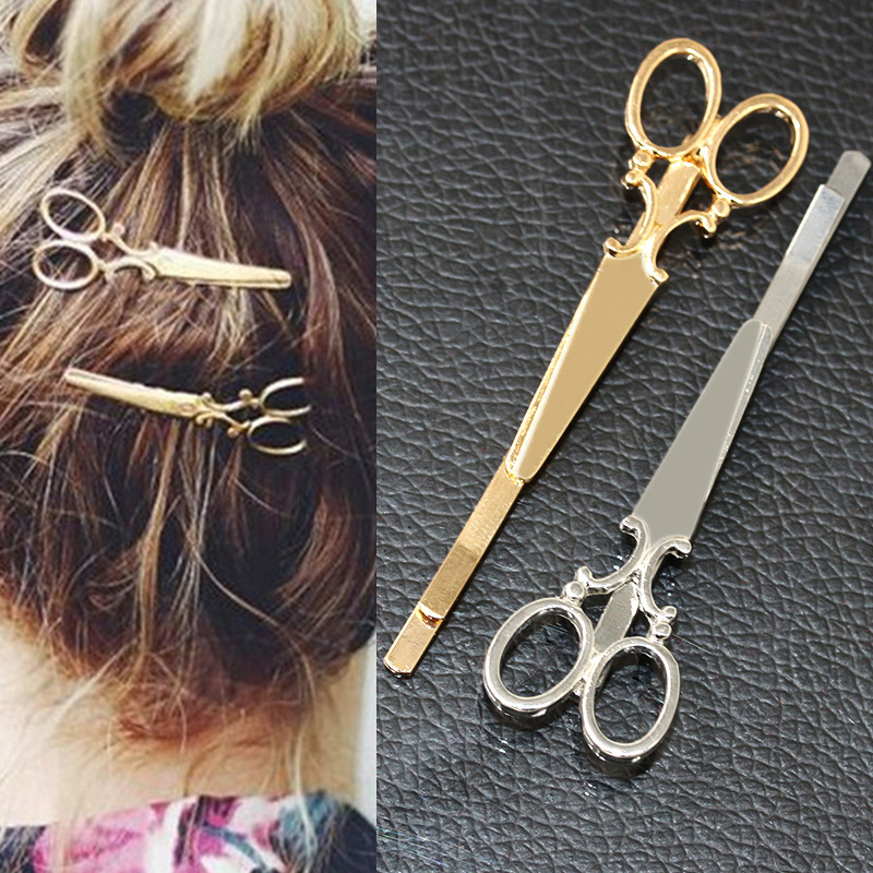 2Pcs Scissors Easy Carrying Of Fashion Girls Chic Golden Silvery Scissors Shape Hair Clip Hair Pin Headwear Barber Scissors Hair