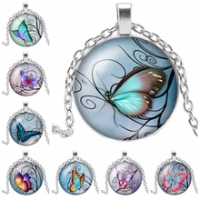 HOT! 2019 New Ecological Butterfly Glass Convex Round Pendant Necklace Cartoon When Assembling