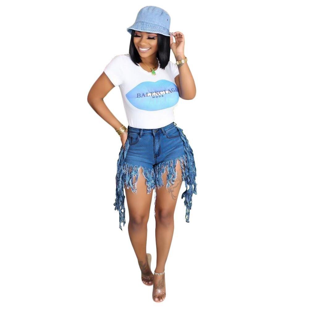 Echoine Women Summer Fringe Tassel Denim Shorts Club Outfit Jeans Hight Waist Femme Skinny Slim Plus size Shorts Jean Shorts