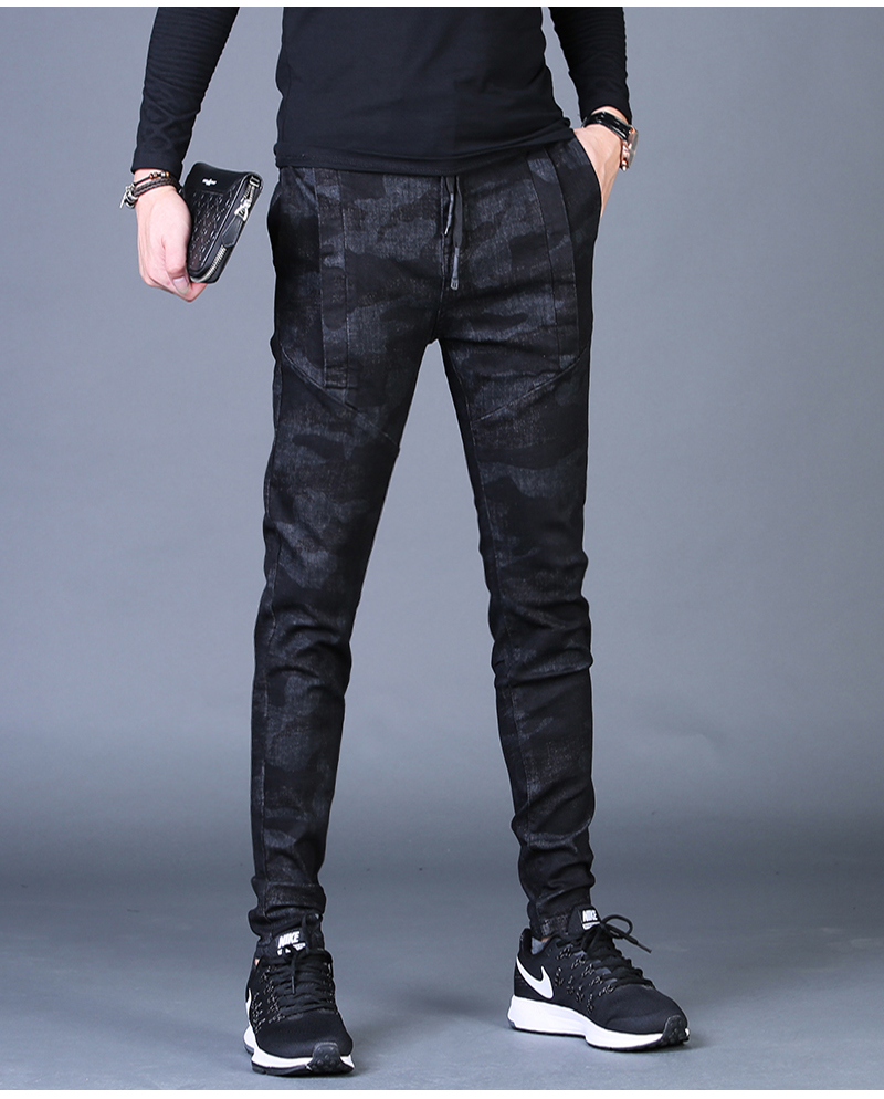 Free shipping new fashion men's male casual Original camouflage jeans men plus velvet autumn stitching pants Slim Korean C3129 80